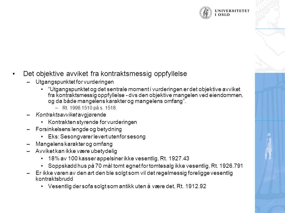 –Kjøperens økonomiske tap et mål på omfang/betydning Rt.