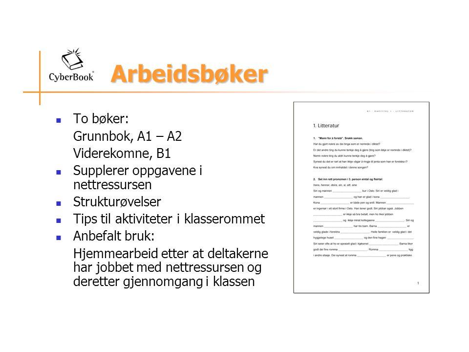 Arbeidsbøker To bøker: Grunnbok, A1 – A2 Viderekomne, B1 Supplerer oppgavene i nettressursen Strukturøvelser Tips til aktiviteter i klasserommet Anbefalt bruk: Hjemmearbeid etter at deltakerne har jobbet med nettressursen og deretter gjennomgang i klassen