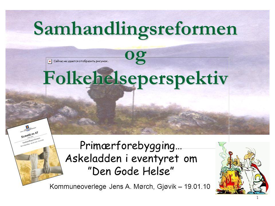 1 Samhandlingsreformen og Folkehelseperspektiv Primærforebygging… Askeladden i eventyret om Den Gode Helse Kommuneoverlege Jens A.