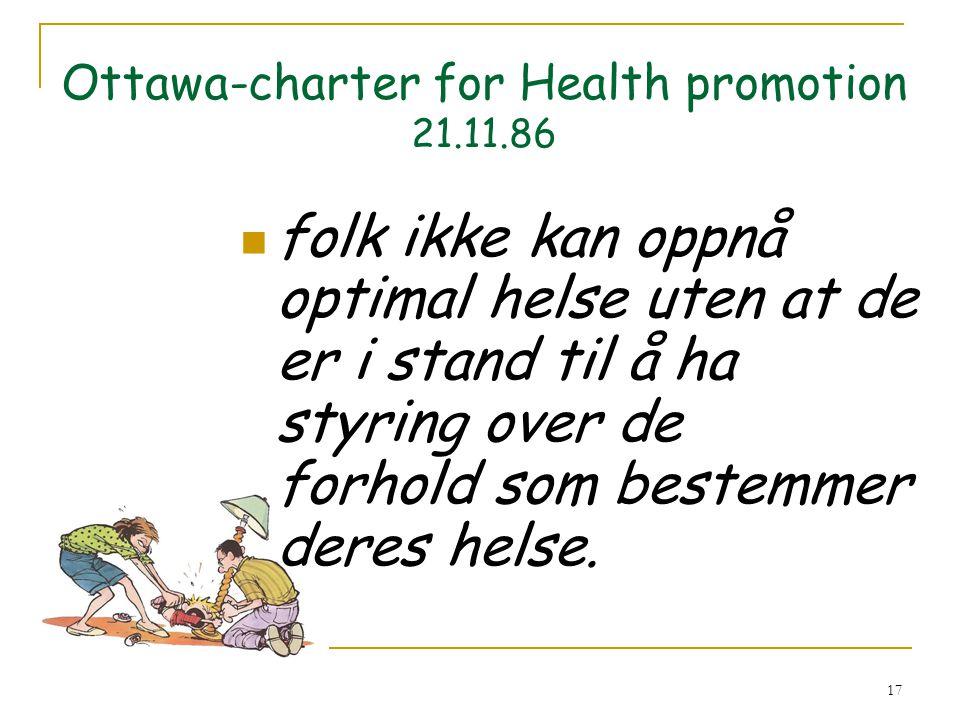 17 Ottawa-charter for Health promotion 21.11.86 folk ikke kan oppnå optimal helse uten at de er i stand til å ha styring over de forhold som bestemmer deres helse.