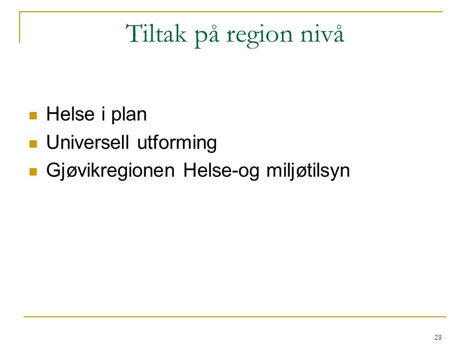Tiltak på region nivå Helse i plan Universell utforming Gjøvikregionen Helse-og miljøtilsyn 28