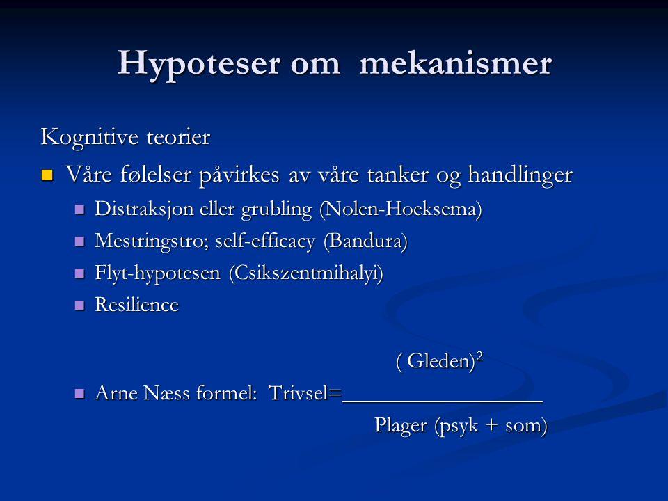 Hypoteser om mekanismer Kognitive teorier Våre følelser påvirkes av våre tanker og handlinger Våre følelser påvirkes av våre tanker og handlinger Distraksjon eller grubling (Nolen-Hoeksema) Distraksjon eller grubling (Nolen-Hoeksema) Mestringstro; self-efficacy (Bandura) Mestringstro; self-efficacy (Bandura) Flyt-hypotesen (Csikszentmihalyi) Flyt-hypotesen (Csikszentmihalyi) Resilience Resilience ( Gleden) 2 ( Gleden) 2 Arne Næss formel: Trivsel=__________________ Arne Næss formel: Trivsel=__________________ Plager (psyk + som)