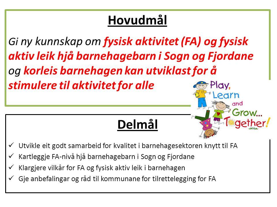 Delmål Utvikle eit godt samarbeid for kvalitet i barnehagesektoren knytt til FA Kartleggje FA-nivå hjå barnehagebarn i Sogn og Fjordane Klargjere vilk