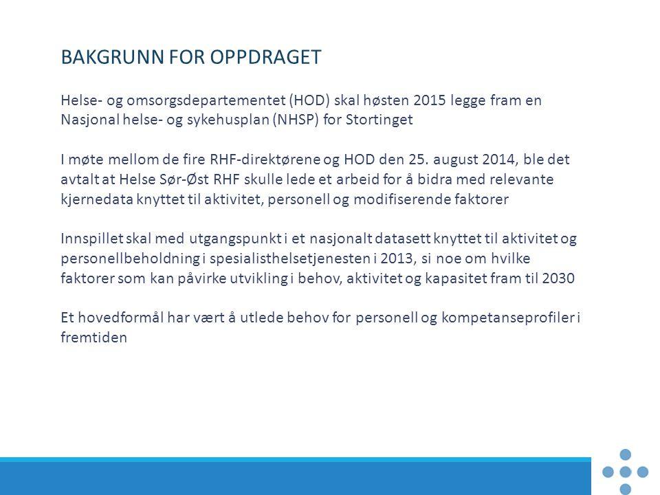BAKGRUNN FOR OPPDRAGET Helse- og omsorgsdepartementet (HOD) skal høsten 2015 legge fram en Nasjonal helse- og sykehusplan (NHSP) for Stortinget I møte