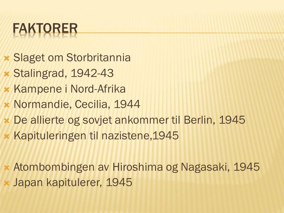  Slaget om Storbritannia  Stalingrad, 1942-43  Kampene i Nord-Afrika  Normandie, Cecilia, 1944  De allierte og sovjet ankommer til Berlin, 1945 