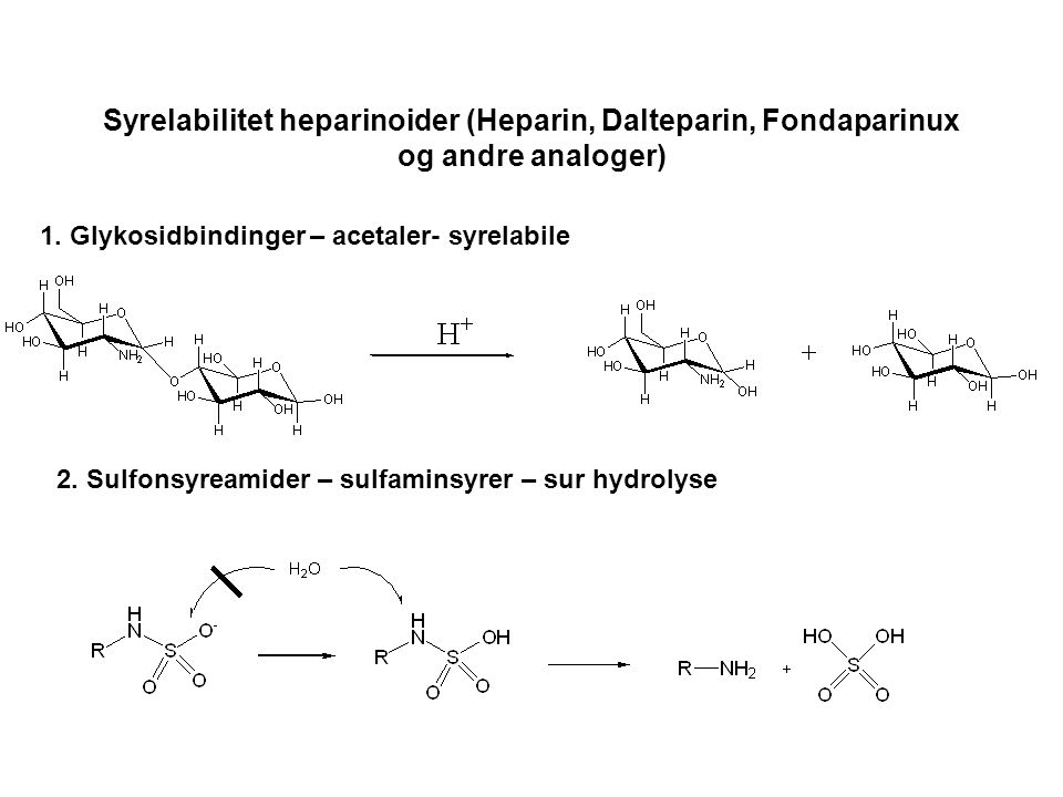 Syrelabilitet heparinoider (Heparin, Dalteparin, Fondaparinux og andre analoger) 1. Glykosidbindinger – acetaler- syrelabile 2. Sulfonsyreamider – sul