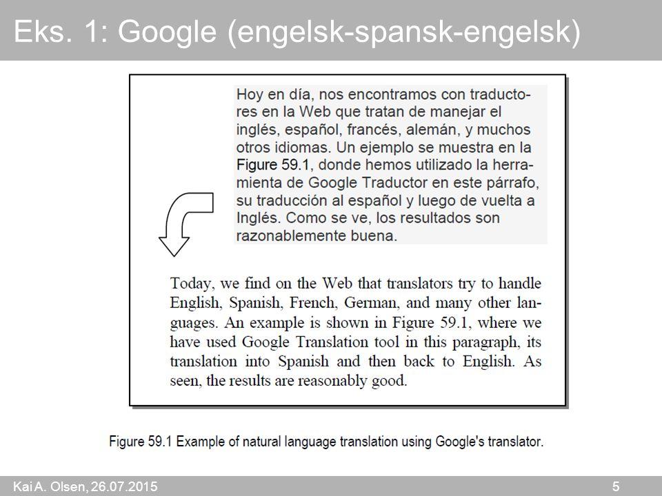 Kai A. Olsen, 26.07.2015 5 Eks. 1: Google (engelsk-spansk-engelsk)