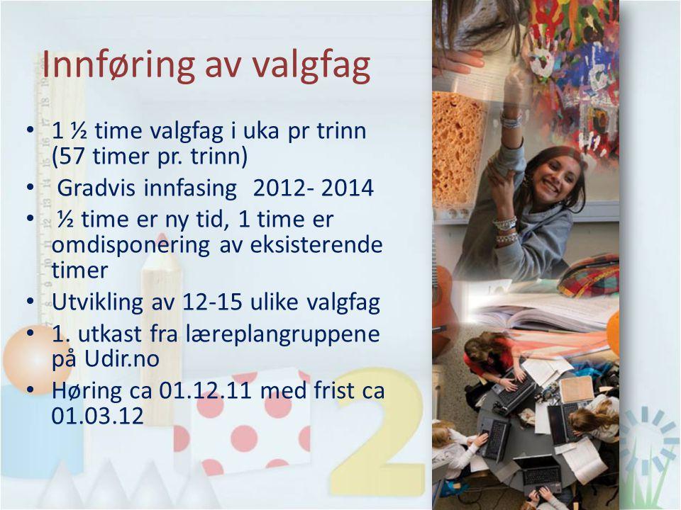 Innføring av valgfag 1 ½ time valgfag i uka pr trinn (57 timer pr. trinn) Gradvis innfasing 2012- 2014 ½ time er ny tid, 1 time er omdisponering av ek