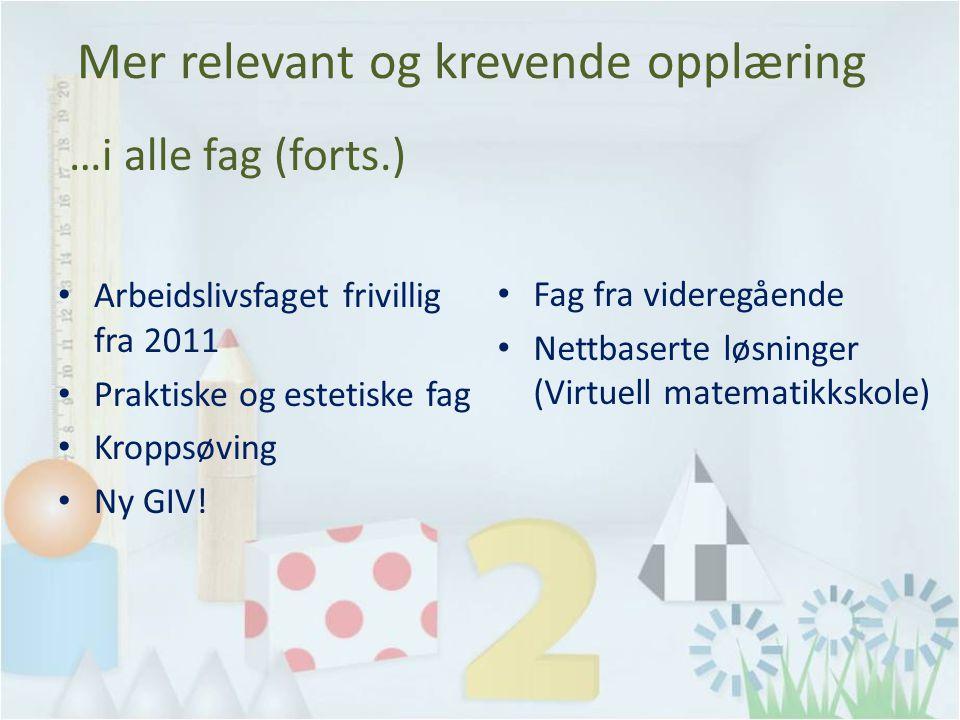 …i alle fag (forts.) Arbeidslivsfaget frivillig fra 2011 Praktiske og estetiske fag Kroppsøving Ny GIV.