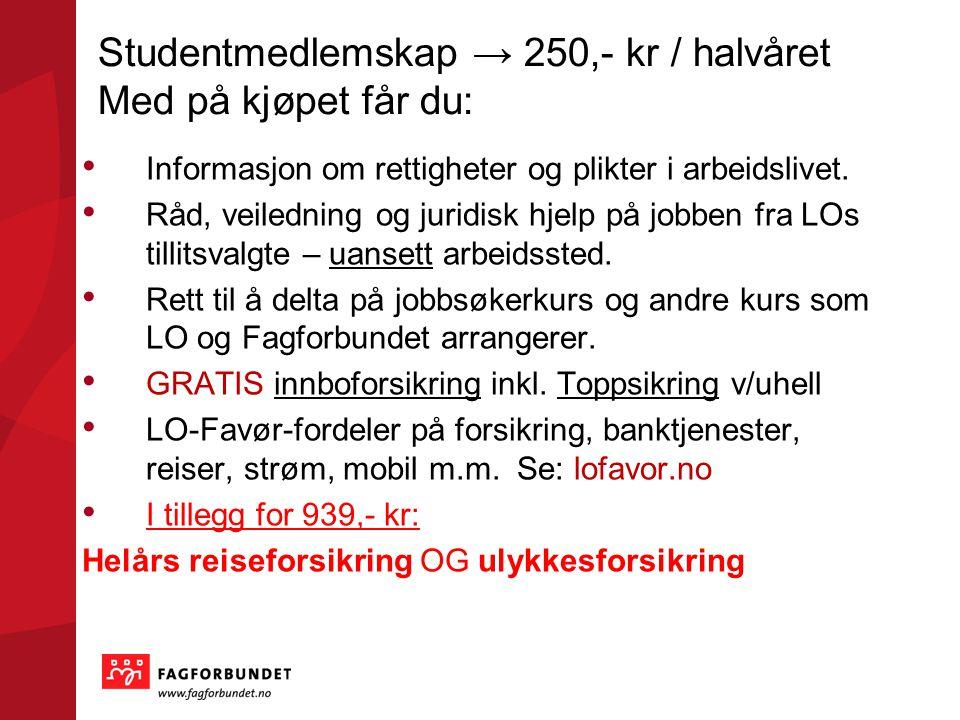 Studentmedlemskap → 250,- kr / halvåret Med på kjøpet får du: Informasjon om rettigheter og plikter i arbeidslivet.