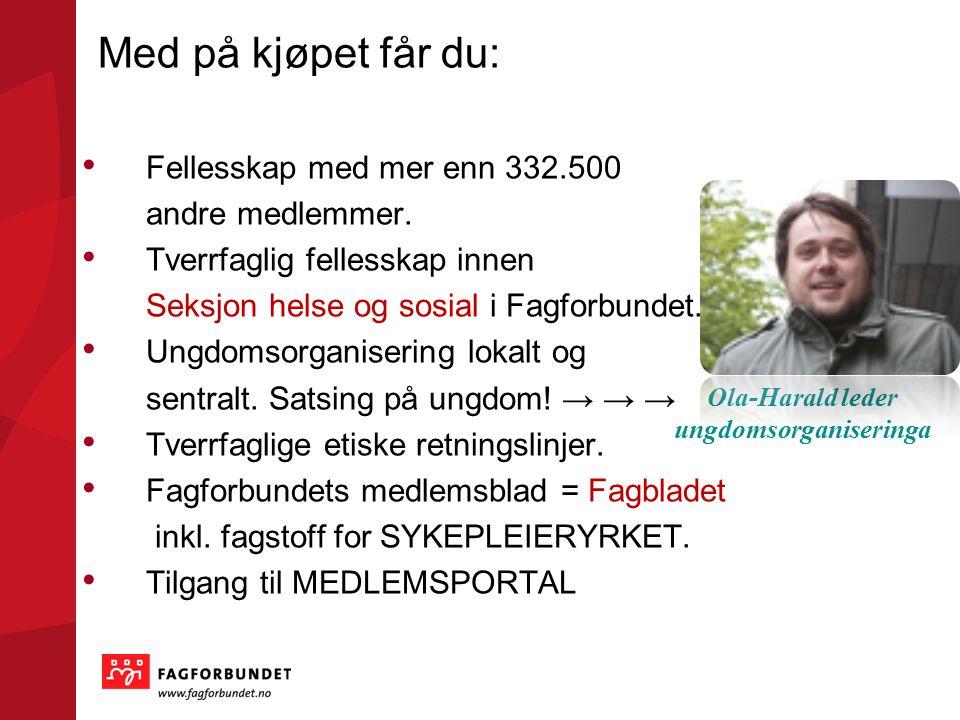 Landsorganisasjonen i Norge LO – paraplyen består av: 22 forbund - deriblant Fagforbundet for deg som er SYKEPLEIERSTUDENT 900 000 medlemmer - deriblant mer enn 332 500 i Fagforbundet
