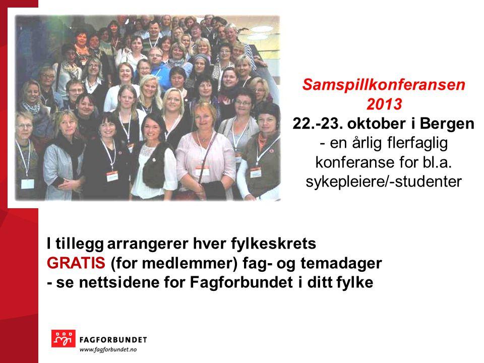 Samspillkonferansen 2013 22.-23. oktober i Bergen - en årlig flerfaglig konferanse for bl.a.
