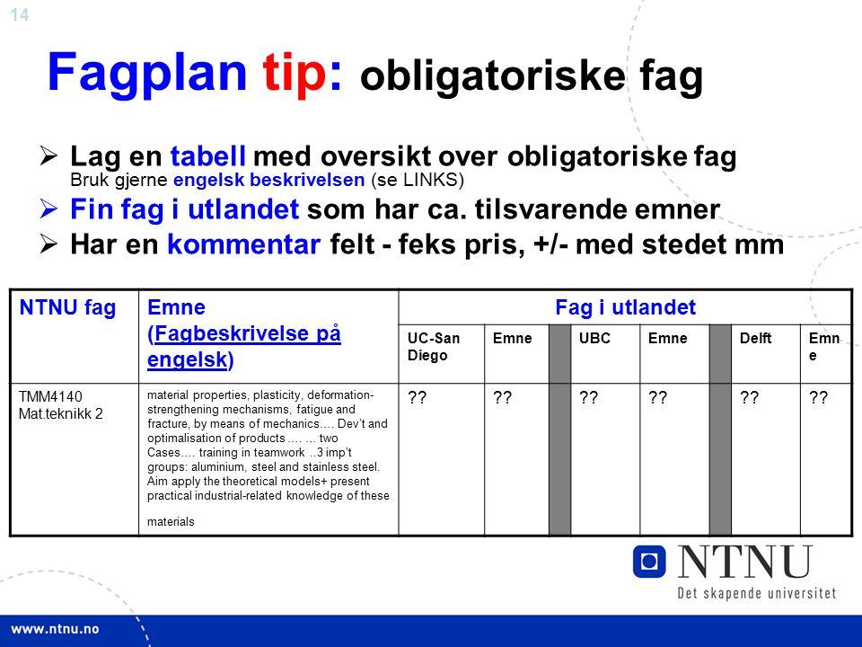 14 Fagplan tip: obligatoriske fag  Lag en tabell med oversikt over obligatoriske fag Bruk gjerne engelsk beskrivelsen (se LINKS)  Fin fag i utlandet som har ca.