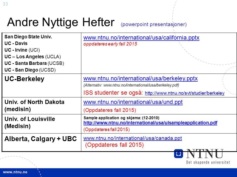 33 Andre Nyttige Hefter (powerpoint presentasjoner) San Diego State Univ.