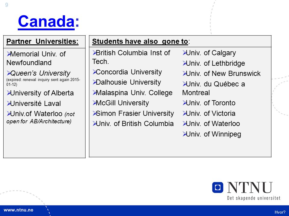 9 CanadaCanada: Hvor? Partner Universities:  Memorial Univ. of Newfoundland  Queen's University (expired: renewal inquiry sent again 2015- 01-12) 