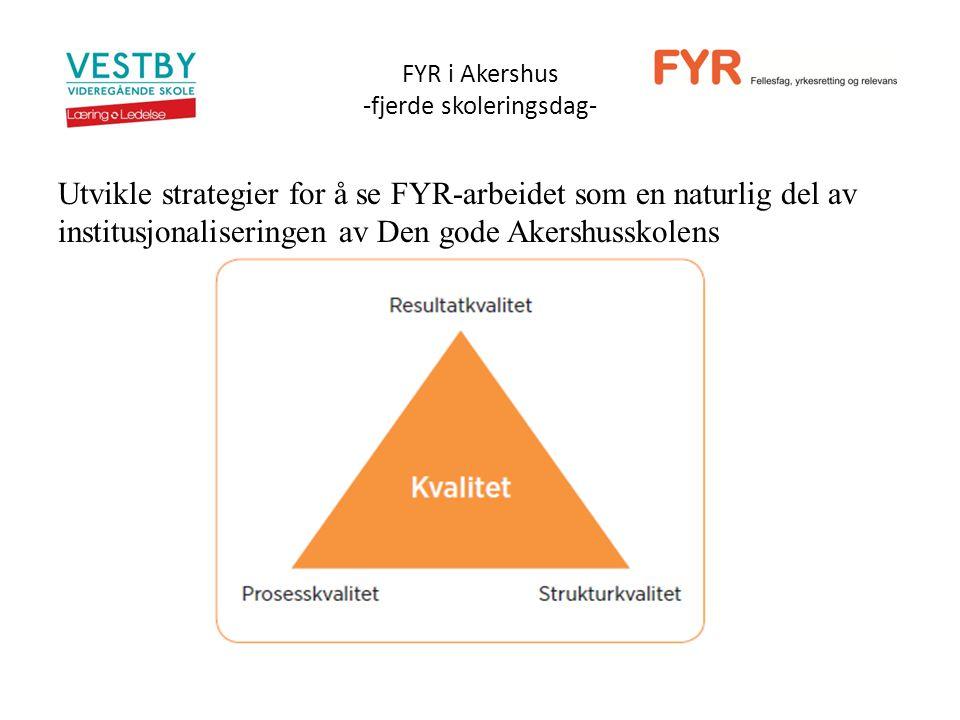 FYR i Akershus -fjerde skoleringsdag- Utvikle strategier for å se FYR-arbeidet som en naturlig del av institusjonaliseringen av Den gode Akershusskolens