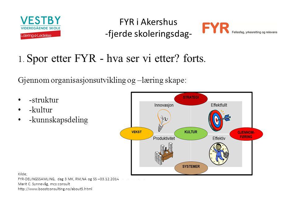 FYR i Akershus -fjerde skoleringsdag- 1. Spor etter FYR - hva ser vi etter.