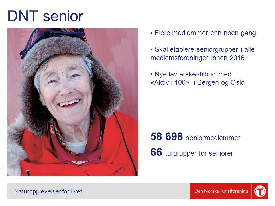 DNT senior Naturopplevelser for livet Flere medlemmer enn noen gang Skal etablere seniorgrupper i alle medlemsforeninger innen 2016 Nye lavterskel-tilbud med «Aktiv i 100» i Bergen og Oslo 58 698 seniormedlemmer 66 turgrupper for seniorer