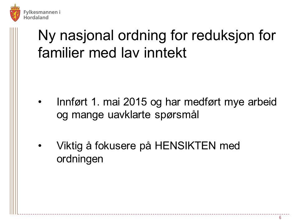 Ny nasjonal ordning for reduksjon for familier med lav inntekt Innført 1.