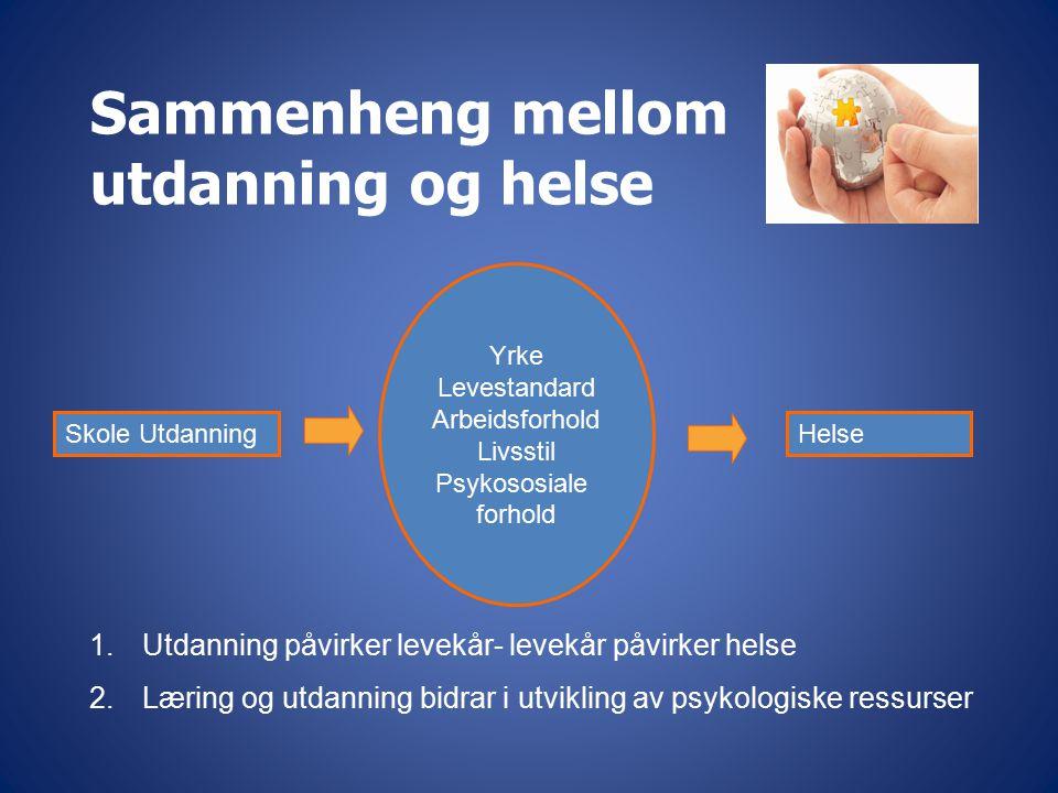 Sammenheng mellom utdanning og helse Skole Utdanning Yrke Levestandard Arbeidsforhold Livsstil Psykososiale forhold Helse 1.Utdanning påvirker levekår