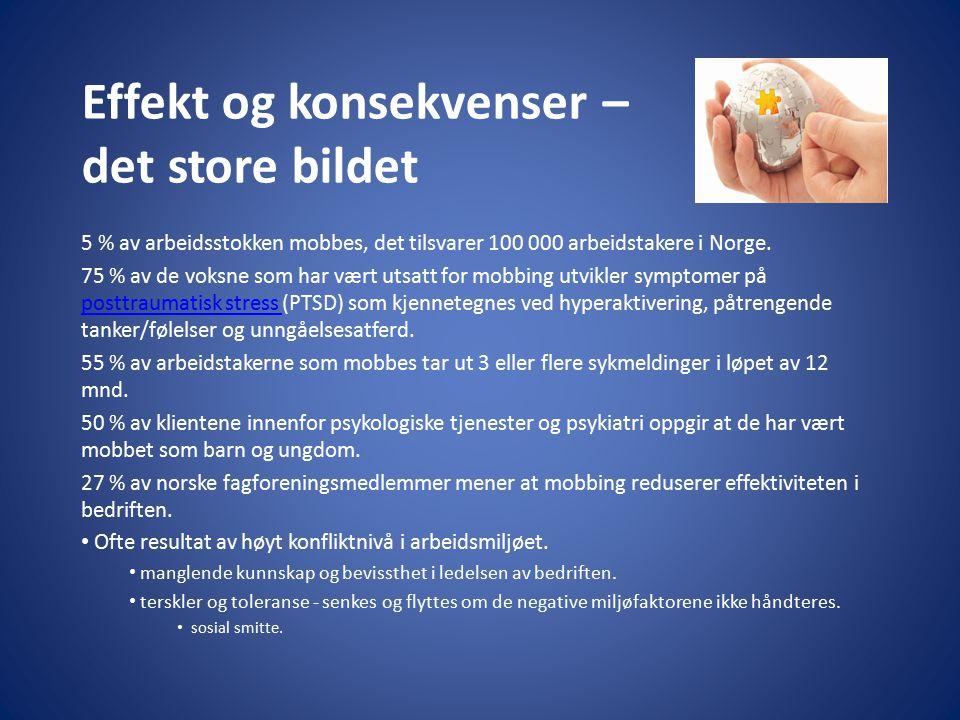 Effekt og konsekvenser – det store bildet 5 % av arbeidsstokken mobbes, det tilsvarer 100 000 arbeidstakere i Norge. 75 % av de voksne som har vært ut