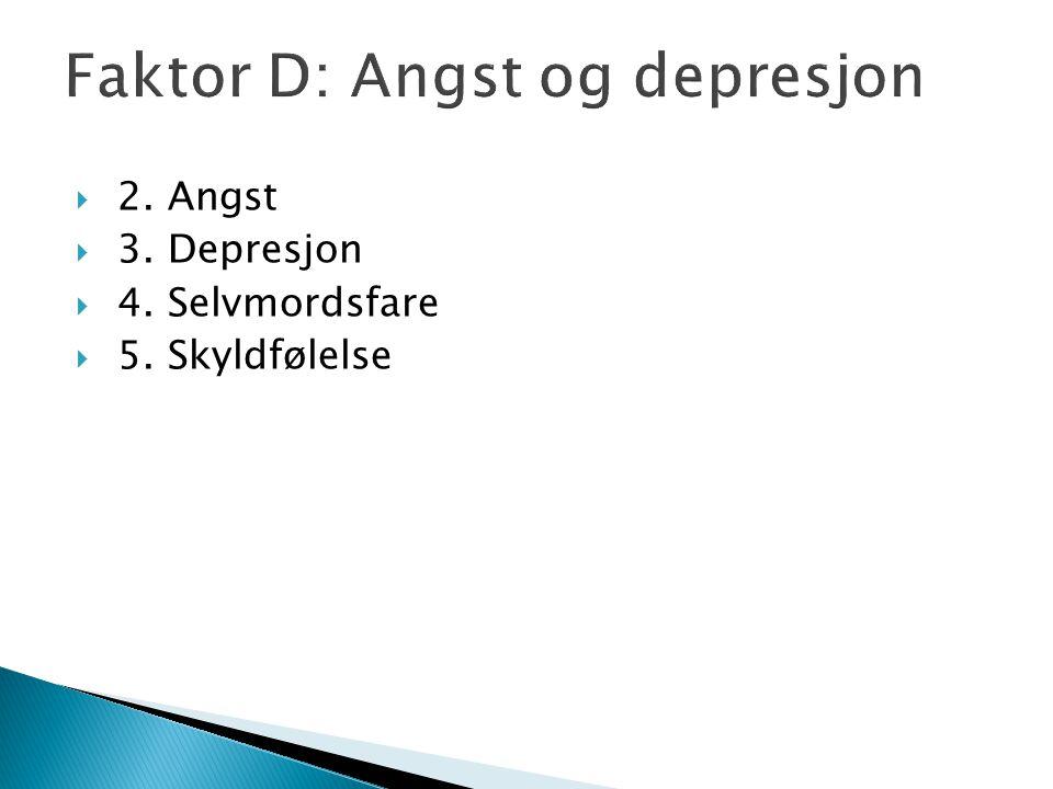 Faktor D: Angst og depresjon  2. Angst  3. Depresjon  4. Selvmordsfare  5. Skyldfølelse