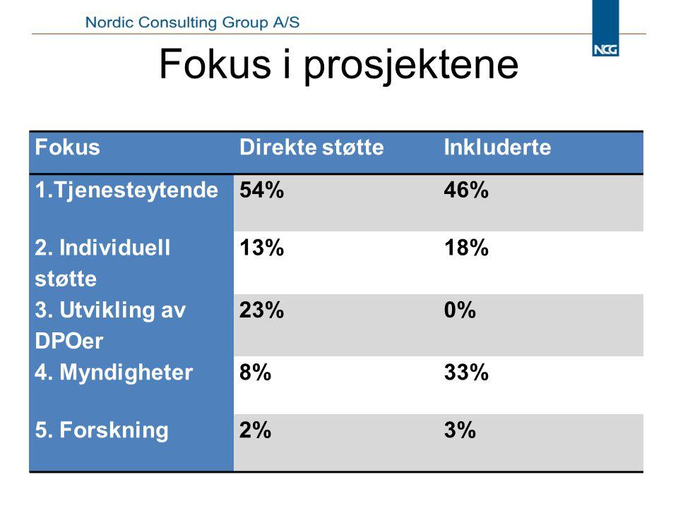 Fokus i prosjektene FokusDirekte støtteInkluderte 1.Tjenesteytende54%46% 2.