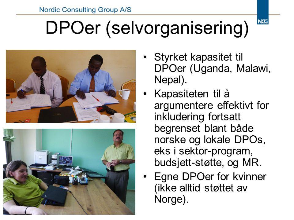 DPOer (selvorganisering) Styrket kapasitet til DPOer (Uganda, Malawi, Nepal).