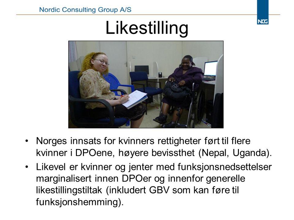 Likestilling Norges innsats for kvinners rettigheter ført til flere kvinner i DPOene, høyere bevissthet (Nepal, Uganda).