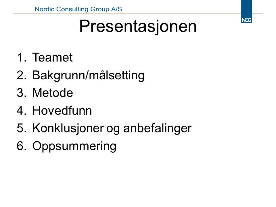 Presentasjonen 1.Teamet 2.Bakgrunn/målsetting 3.Metode 4.Hovedfunn 5.Konklusjoner og anbefalinger 6.Oppsummering