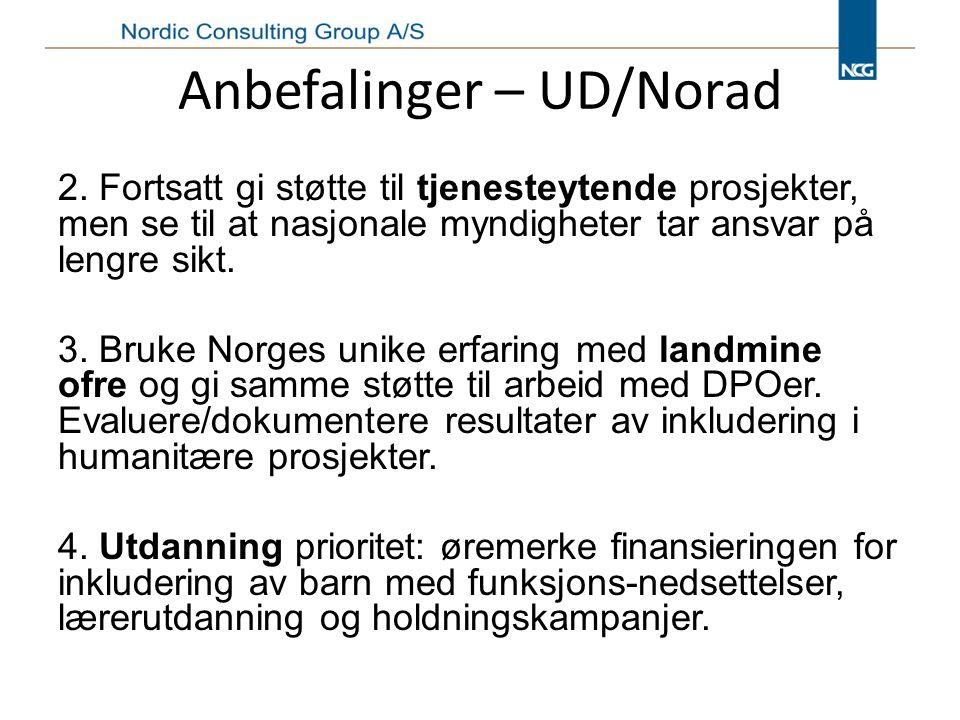 Anbefalinger – UD/Norad 2.