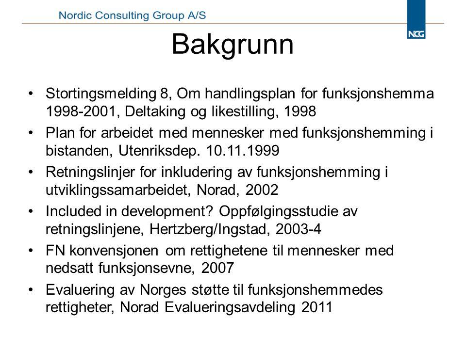 Bakgrunn Stortingsmelding 8, Om handlingsplan for funksjonshemma 1998-2001, Deltaking og likestilling, 1998 Plan for arbeidet med mennesker med funksjonshemming i bistanden, Utenriksdep.