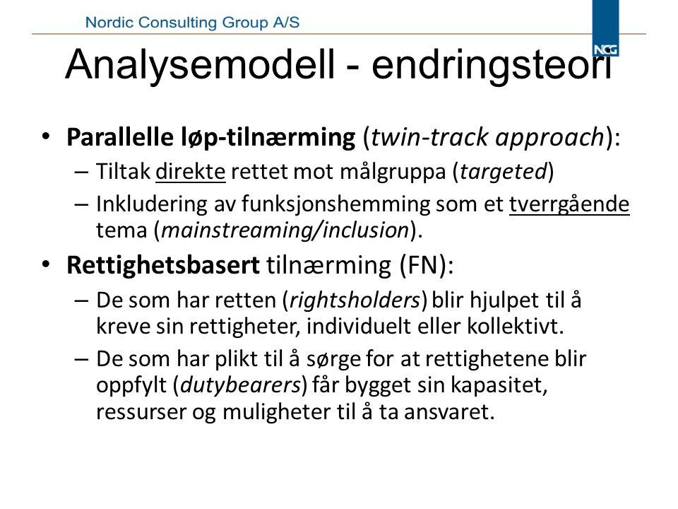 Analysemodell - endringsteori Parallelle løp-tilnærming (twin-track approach): – Tiltak direkte rettet mot målgruppa (targeted) – Inkludering av funksjonshemming som et tverrgående tema (mainstreaming/inclusion).