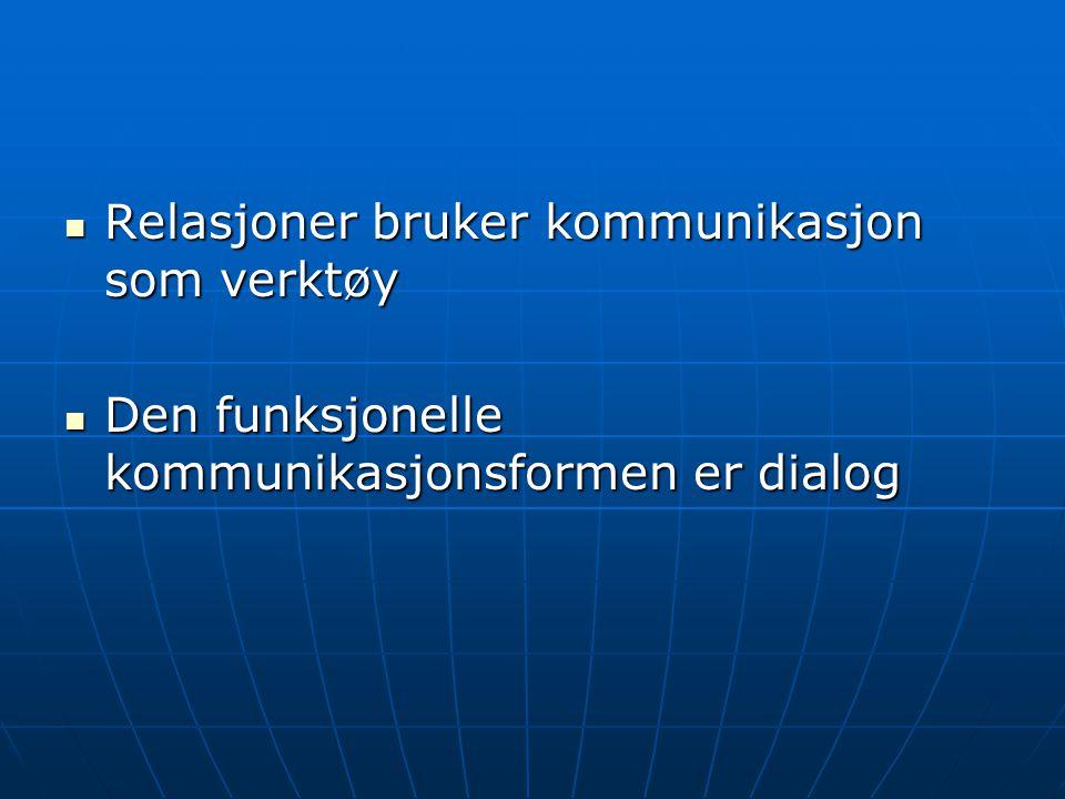 Relasjoner bruker kommunikasjon som verktøy Relasjoner bruker kommunikasjon som verktøy Den funksjonelle kommunikasjonsformen er dialog Den funksjonelle kommunikasjonsformen er dialog