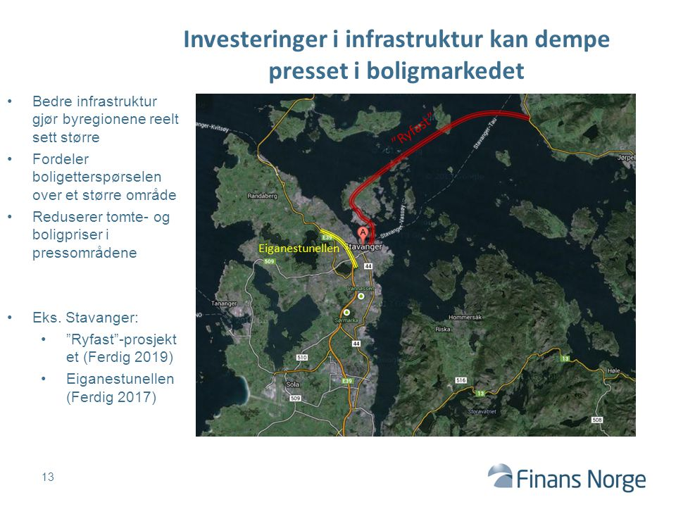 Investeringer i infrastruktur kan dempe presset i boligmarkedet 13 Ryfast Eiganestunellen Bedre infrastruktur gjør byregionene reelt sett større Fordeler boligetterspørselen over et større område Reduserer tomte- og boligpriser i pressområdene Eks.