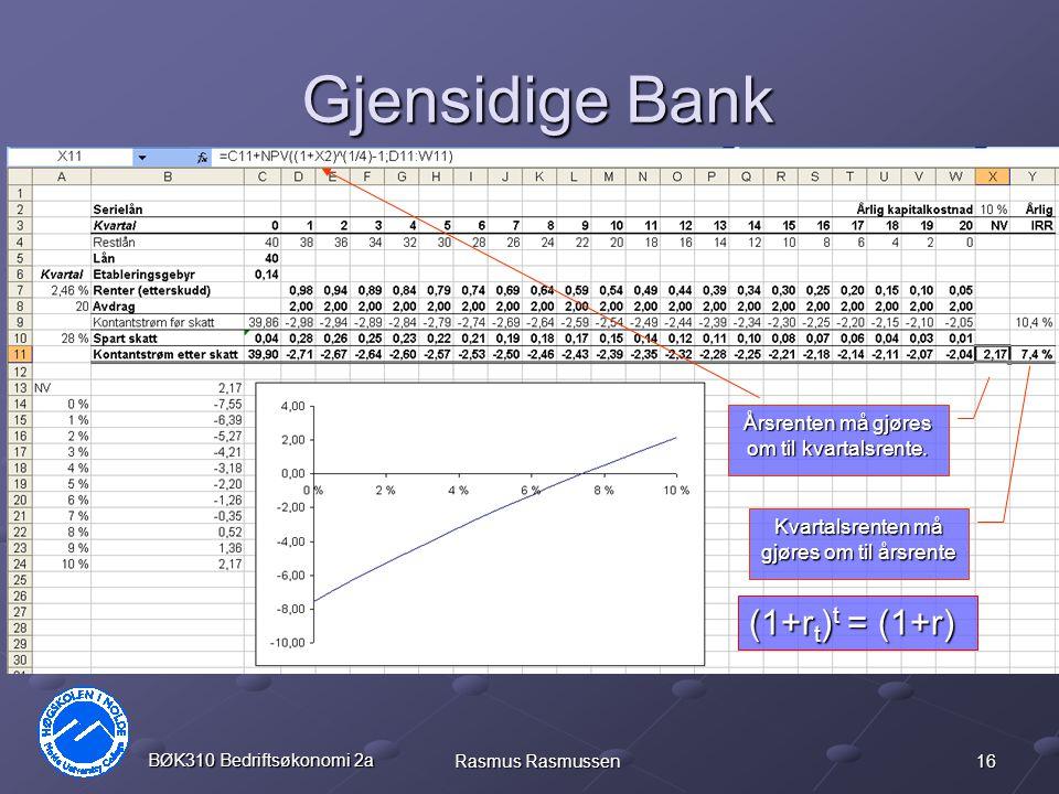 16 BØK310 Bedriftsøkonomi 2a Rasmus Rasmussen Gjensidige Bank Årsrenten må gjøres om til kvartalsrente. Kvartalsrenten må gjøres om til årsrente (1+r