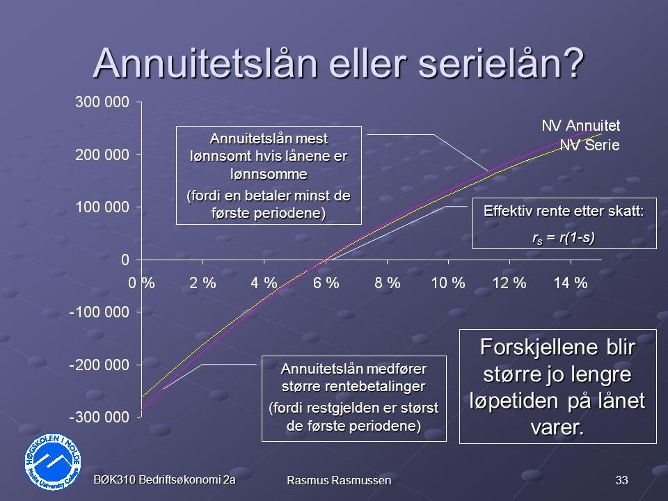 33 BØK310 Bedriftsøkonomi 2a Rasmus Rasmussen Annuitetslån eller serielån? Annuitetslån medfører større rentebetalinger (fordi restgjelden er størst d