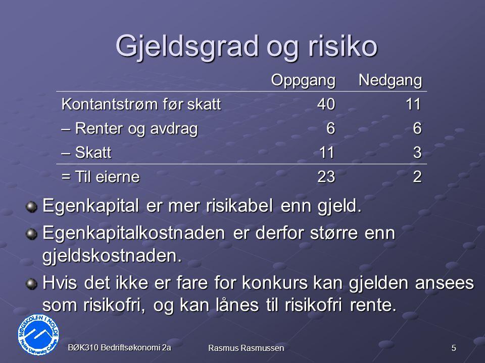 5 BØK310 Bedriftsøkonomi 2a Rasmus Rasmussen Gjeldsgrad og risiko Egenkapital er mer risikabel enn gjeld. Egenkapitalkostnaden er derfor større enn gj