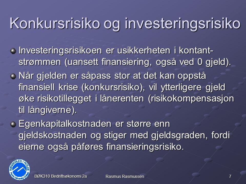 8 BØK310 Bedriftsøkonomi 2a Rasmus Rasmussen Optimal kapitalstruktur Mange andre forhold enn konkursrisiko og kapitalkostnad spiller inn ved bestemmelse av optimalt forhold mellom gjeld og egenkapital.