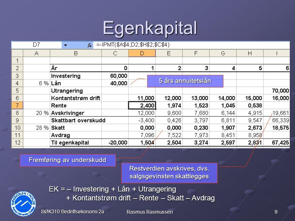 9 BØK310 Bedriftsøkonomi 2a Rasmus Rasmussen Egenkapital 5 års annuitetslån Fremføring av underskudd Restverdien avskrives, dvs. salgsgevinsten skattl