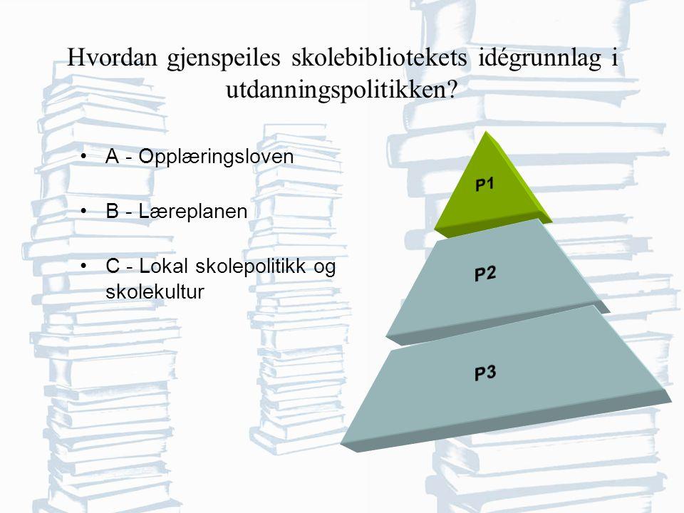 Hvordan gjenspeiles skolebibliotekets idégrunnlag i utdanningspolitikken.