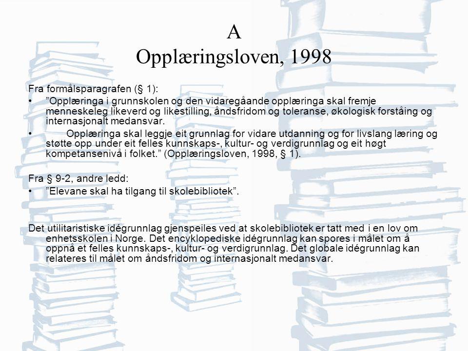 A Opplæringsloven, 1998 Fra formålsparagrafen (§ 1): Opplæringa i grunnskolen og den vidaregåande opplæringa skal fremje menneskeleg likeverd og likestilling, åndsfridom og toleranse, økologisk forståing og internasjonalt medansvar.