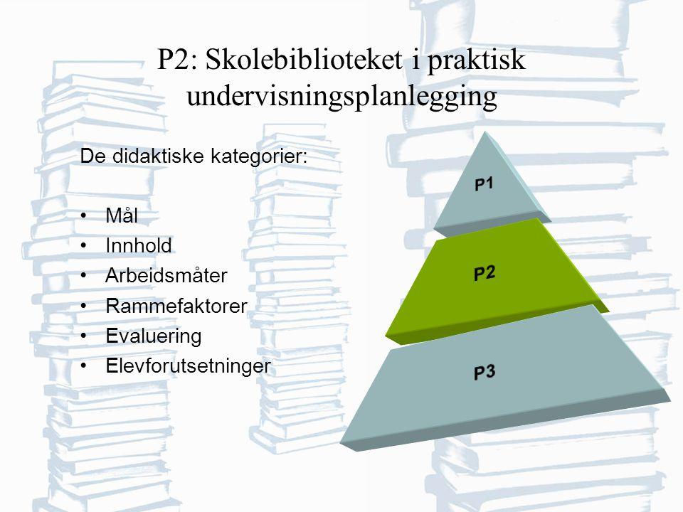 P2: Skolebiblioteket i praktisk undervisningsplanlegging De didaktiske kategorier: Mål Innhold Arbeidsmåter Rammefaktorer Evaluering Elevforutsetninger