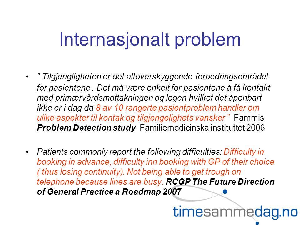 Internasjonalt problem Tilgjengligheten er det altoverskyggende forbedringsområdet for pasientene.