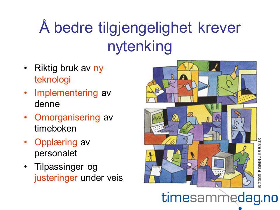 Å bedre tilgjengelighet krever nytenking Riktig bruk av ny teknologi Implementering av denne Omorganisering av timeboken Opplæring av personalet Tilpassinger og justeringer under veis