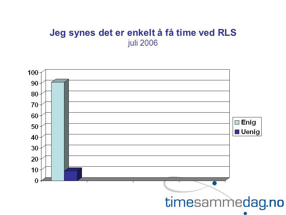 Jeg synes det er enkelt å få time ved RLS juli 2006