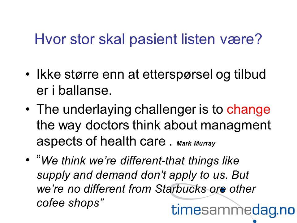 Hvor stor skal pasient listen være. Ikke større enn at etterspørsel og tilbud er i ballanse.