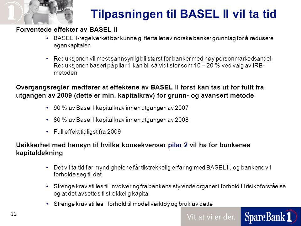 11 Tilpasningen til BASEL II vil ta tid Forventede effekter av BASEL II BASEL II-regelverket bør kunne gi flertallet av norske banker grunnlag for å redusere egenkapitalen Reduksjonen vil mest sannsynlig bli størst for banker med høy personmarkedsandel.