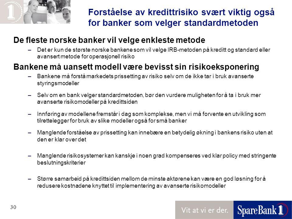 30 Forståelse av kredittrisiko svært viktig også for banker som velger standardmetoden De fleste norske banker vil velge enkleste metode –Det er kun de største norske bankene som vil velge IRB-metoden på kreditt og standard eller avansert metode for operasjonell risiko Bankene må uansett modell være bevisst sin risikoeksponering –Bankene må forstå markedets prissetting av risiko selv om de ikke tar i bruk avanserte styringsmodeller –Selv om en bank velger standardmetoden, bør den vurdere muligheten for å ta i bruk mer avanserte risikomodeller på kredittsiden –Innføring av modellene fremstår i dag som komplekse, men vi må forvente en utvikling som tilrettelegger for bruk av slike modeller også for små banker –Manglende forståelse av prissetting kan innebære en betydelig økning i bankens risiko uten at den er klar over det –Manglende risikosystemer kan kanskje i noen grad kompenseres ved klar policy med stringente beslutningskriterier –Større samarbeid på kredittsiden mellom de minste aktørene kan være en god løsning for å redusere kostnadene knyttet til implementering av avanserte risikomodeller