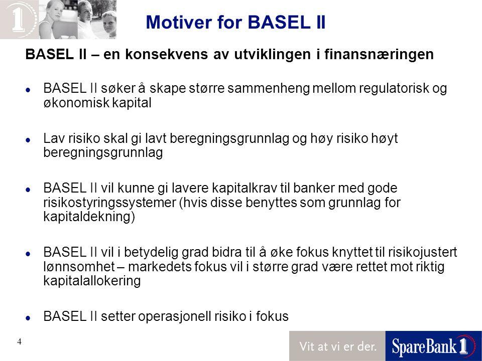4 Motiver for BASEL II BASEL II – en konsekvens av utviklingen i finansnæringen l BASEL II søker å skape større sammenheng mellom regulatorisk og økonomisk kapital l Lav risiko skal gi lavt beregningsgrunnlag og høy risiko høyt beregningsgrunnlag l BASEL II vil kunne gi lavere kapitalkrav til banker med gode risikostyringssystemer (hvis disse benyttes som grunnlag for kapitaldekning) l BASEL II vil i betydelig grad bidra til å øke fokus knyttet til risikojustert lønnsomhet – markedets fokus vil i større grad være rettet mot riktig kapitalallokering l BASEL II setter operasjonell risiko i fokus